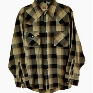 Ely Cattleman Mens Size L Western Button L/Sleeve